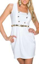 SeXy MiSS Damen Mini Kleid Military Girly Dress S/M 34/36 weiß Gürtel Gold NEU