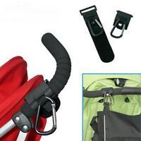 Leather+Metal Baby Pushchair Stroller Clip Shopping Bag Holder Hook Holders
