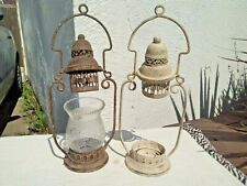 PAIR VINTAGE METAL MOROCCAN CANDLE LAMPS CANDLE HOLDERS LANTERNS
