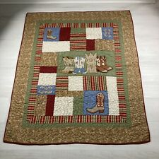 Western Cowboy Boots Hand Stitched Quilt 58inx49in.