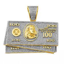 10 K Solid Gold, Natural Diamond $100 Money Stack Pendant 1.55 Carats Hip Hop