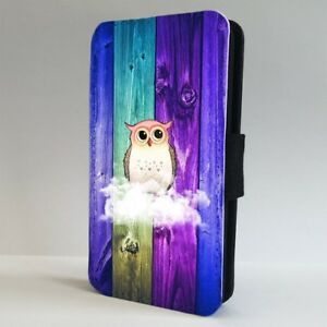Cute Owl Clouds Colourful FLIP PHONE CASE COVER for IPHONE SAMSUNG
