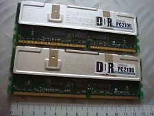 lot 2 Barettes memoire Memory mushking 256 512 Mo DDR pc2100 RAM saisir vintage