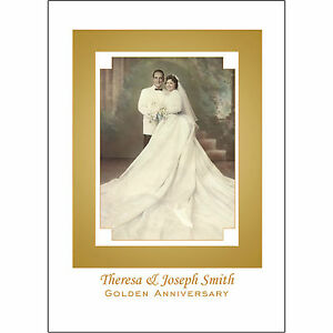 25 Personalized 50th Golden  Anniversary Party Invitations with Photo  - AP-1D