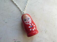 Kitsch Painted Wooden Red Russian Doll Silver Plated Necklace Brand New Retro