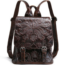 Genuine Leather Women's Backpack Floral Embroidered Designer Vintage Travel Bag
