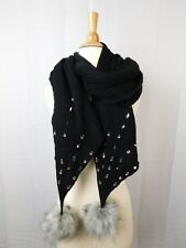 Betsey Johnson B-Jeweled Knit Faux-Fur Pom Pom Muffler Scarf Black #C281