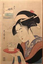 Kitagawa Utamaro Japanese Woodblock Print Waitress Okita Of The Teahouse Naniwa