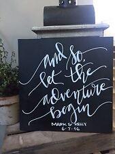 Rustic Wedding Sign, Rustic Wood, Wedding Verse, Let The Adventure Begin