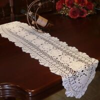 White Vintage Hand Crochet Table Runner Dresser Scarf Oval Lace Doily 12x47inch