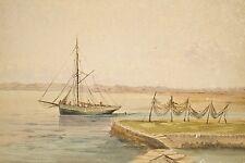 Aquarelle originale non signée vers 1920 Voilier près d'un quai