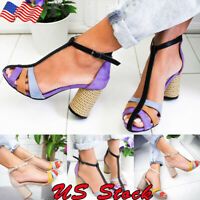 US Women Color Ankle Strap Block Sandals Chunky Heel Dress Sandal Size 5.5 - 11