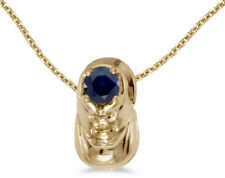 14k Yellow Gold Round Sapphire Baby Bootie Pendant (Chain NOT included)