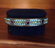 Heidi Daus Aquamarine Amethyst Crystal Bronze Hinge Bracelet