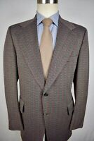 1970's PBM Red/Black/Gray Herringbone Polyester Two Button Two Pc Suit Size: 38R
