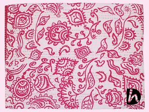 Cotton Kantha Quilt Indian Handmade Bedsheet Pink Color Bedcover Geometric Throw