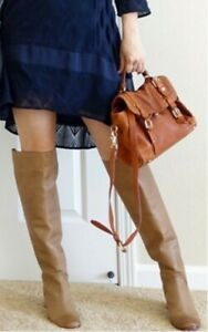 Anthropologie Rory Knee High Boots Leifnotes Tan Distressed Leather 7/37 $228
