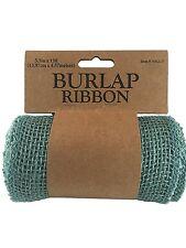 "Teal BURLAP JUTE Mesh Ribbon Roll, Teal Blue Unwired, 5 Yds (15 Feet, 5.5"" Wide)"