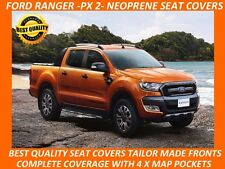 FORD RANGER PX MK2 FRONT NEOPRENE SEAT COVERS COMPLETE COVERAGE- MAP POCKETS X 4