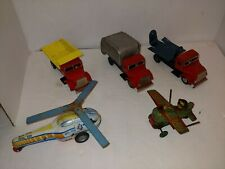 5 Vintage Friction,Windup Tin Toys,Occupied Japan Loop Plane,Trucks,Helicopter