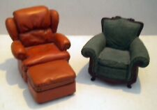 Mini Easy Chairs.1 Brown Leather w/ Foot Stool and 1 Green Easy Chair. Cute item