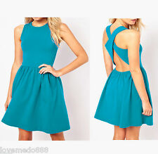Sexy Casual Party Club Strap Cross Open Back Tunic Flared Skater Dress LARGE #1