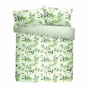 FLORAL FLOWERS LEAVES GREEN WHITE KING SIZE DUVET COVER & PENCIL PLEAT CURTAINS