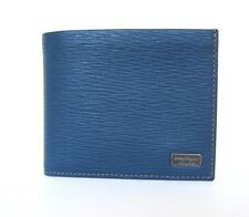B-449126 New Salvatore Ferragamo Dutch Blue Pebble Calf Bi-fold Wallet