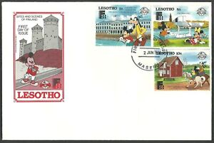 LESOTHO 1988 DISNEY FINLANDIA MICKEY MOUSE SWANS ARCHITECTURE FIRST DAY COVER