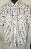 Roper Mens XL Short Sleeve Button Front Western Pearl Snap White Brown Plaid