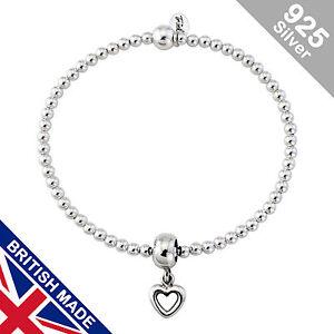 Trink Open Heart Sterling Silver Beaded Charm Bracelet Elastic Stretch