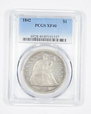 XF40 1842 Seated Liberty Silver Dollar - Graded PCGS *8574