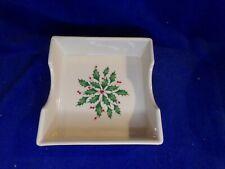 New listing Lenox China Christmas Holiday Napkin Holder Ceramic Holly Berries