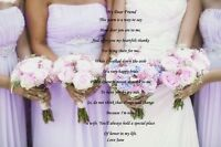 PERSONALISED POEM TO BRIDESMAID IDEAL WEDDING GIFT  TO FRAME A4 OR  A3 CANVAS