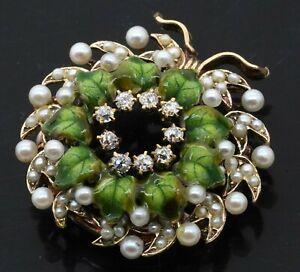 1930s Arts & Crafts era 18K gold .27CTW VS1/G diamond/pearl enamel wreath brooch