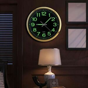 12in Large Luminous Wall Clock Glow In The Dark Indoor Room Decor Non-Ticking
