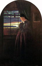 Oil painting Farrer, Charles English artist girl by sunset window Hand painted