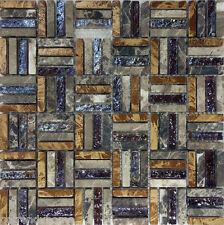 1SF- Brown Natural Stone Iridescent Glass Pattern Mosaic Tile Backsplash Wall