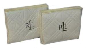 2 RALPH LAUREN Regent T600 Quilt Cream Romantic Traveler KING SHAMS SET NWT $330