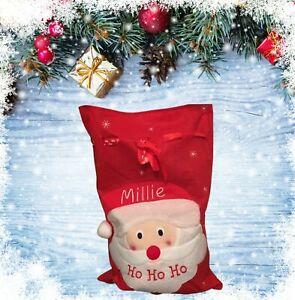 Personalised Embroidered Christmas Santa Sack Xmas Bag Stocking Presents Name