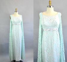 Vintage 1960s Blue Lace Cape-Backed Dress. Blue Lace Cape Shawl Evening Gown.