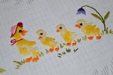 MOMMY DUCK IN HAT LEADS BABY DUCK EASTER PARADE! VTG GERMAN HAND EMB TABLECLOTH
