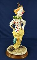 Vintage CLOWN STATUE A.BELCARI ITALY HAND PAINTED Capodimonte Style