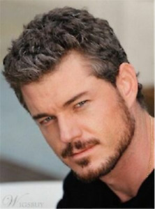 100% Human Hair New Natural Short Straight Gray Mix Black Fashion Men's Wigs