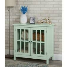 Green Buffet Sideboard China Storage Cabinet Server Curio Display Glass Doors