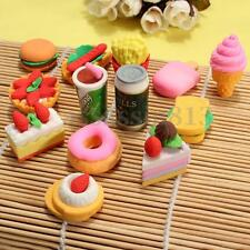 5Pcs Funny Cute Food Rubber Pencil Eraser Stationery Novelty Children Party Gift