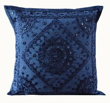 Ethnic Indian Cotton Mirror Work Handmade Bohemian Hippie Square Cushion Cover
