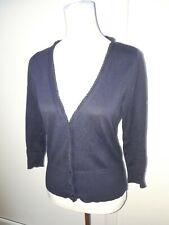 Monsoon Ladies Size 8 Navy Blue Button Cardigan Ruffle Winter Fashion Knit Wear