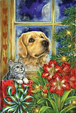 Peaceful Pet Christmas House Flag Cats Dog Holiday Decorative Christmas Tree