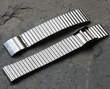 Matte steel 18mm NSA watch band sliding clasp Switzerland 1960s/70s NOS bracelet